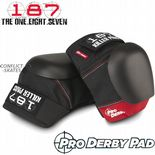 "187 KILLER ""Pro Derby"" Knee Pads Roller Derby Protection Black/RED SMALL only"